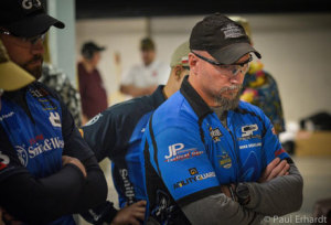 Defending pistol division champ Mike Seeklander gets his game face on during the stage briefing. It must of worked considering he won again and posted the fasted overall time. Photo by P. Erhardt